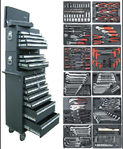 Tool boxes with tools