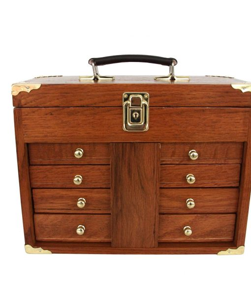 Oak tool box solid hard wood portable us pro tools