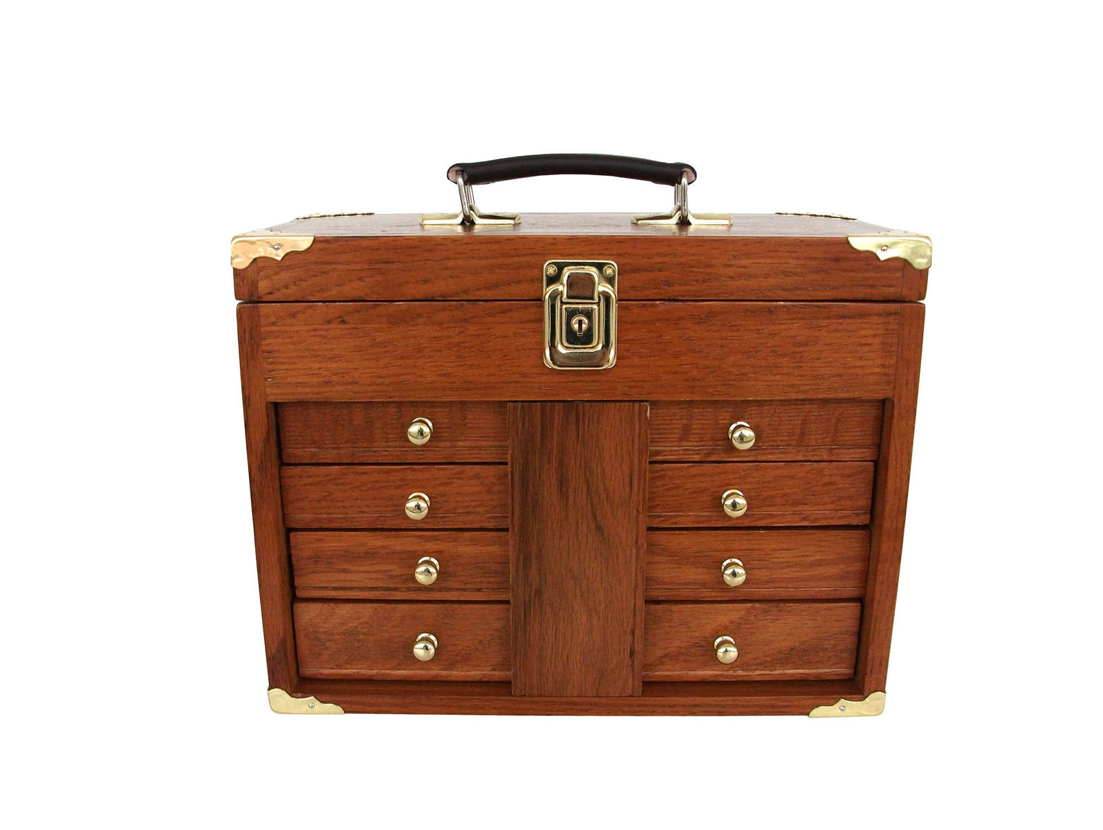 Wood Tool Chest ~ Oak tool box solid hard wood portable us pro tools
