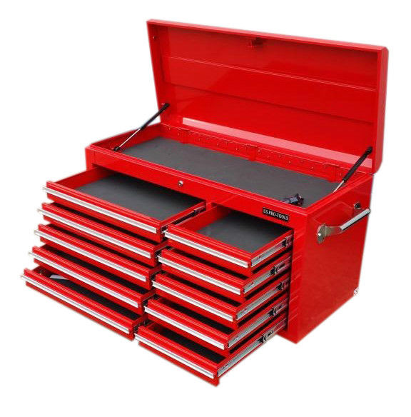 US PRO TOOLS LARGE TOP CLASSIC TOOL BOX WITH TOOLS
